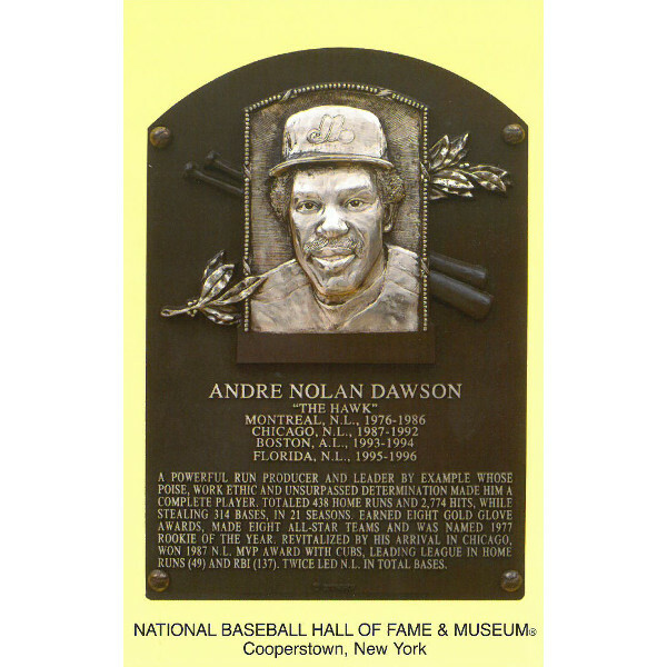 Andre Dawson Baseball Hall of Fame Plaque Postcard