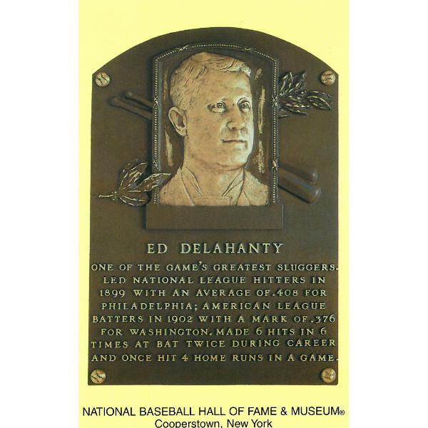 Ed Delahanty Baseball Hall of Fame Plaque Postcard