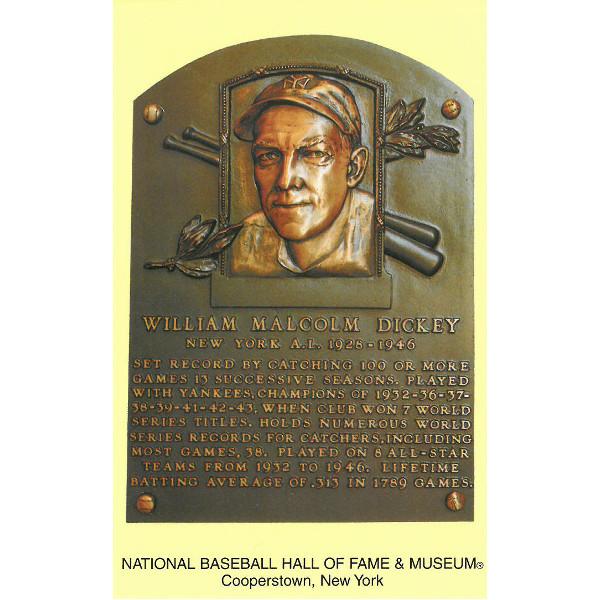 Bill Dickey Baseball Hall of Fame Plaque Postcard