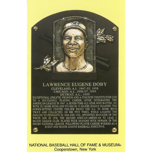 Larry Doby Baseball Hall of Fame Plaque Postcard