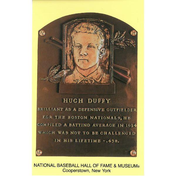Hugh Duffy Baseball Hall of Fame Plaque Postcard