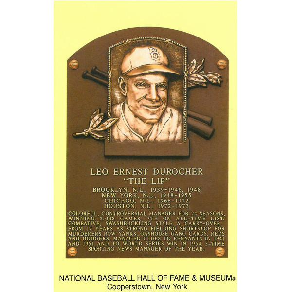 Leo Durocher Baseball Hall of Fame Plaque Postcard