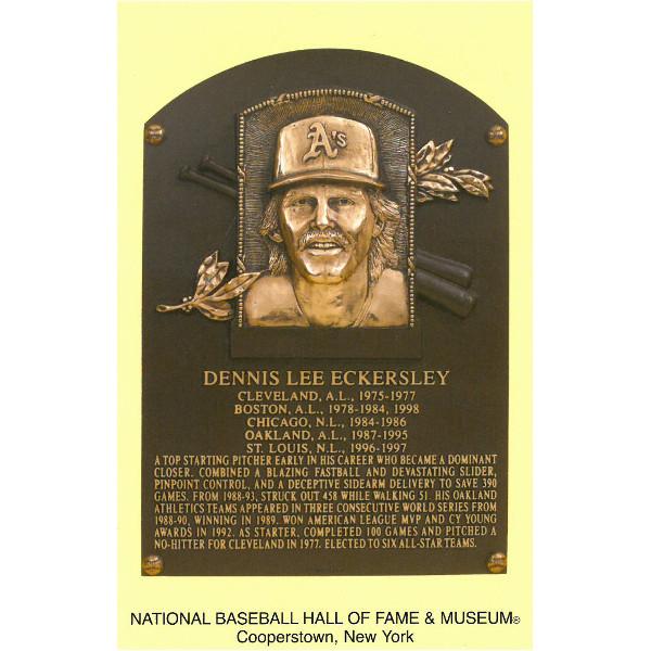Dennis Eckersley Baseball Hall of Fame Plaque Postcard