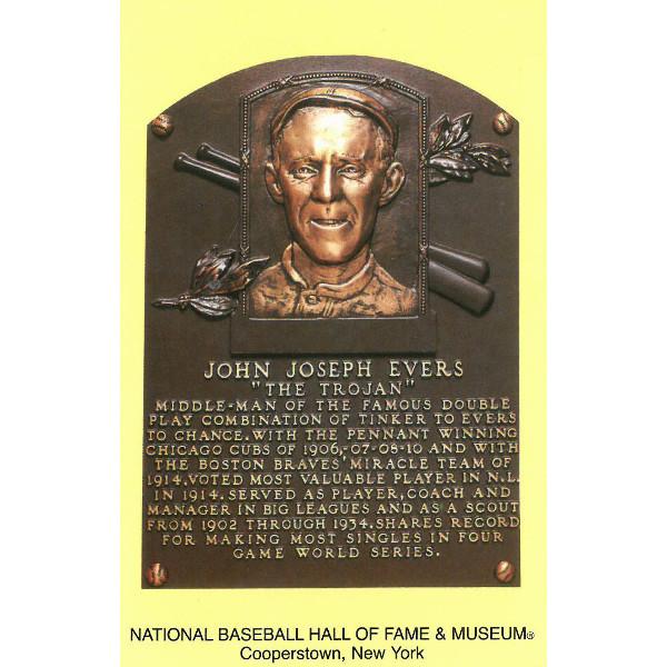 Johnny Evers Baseball Hall of Fame Plaque Postcard