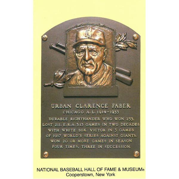 Red Faber Baseball Hall of Fame Plaque Postcard