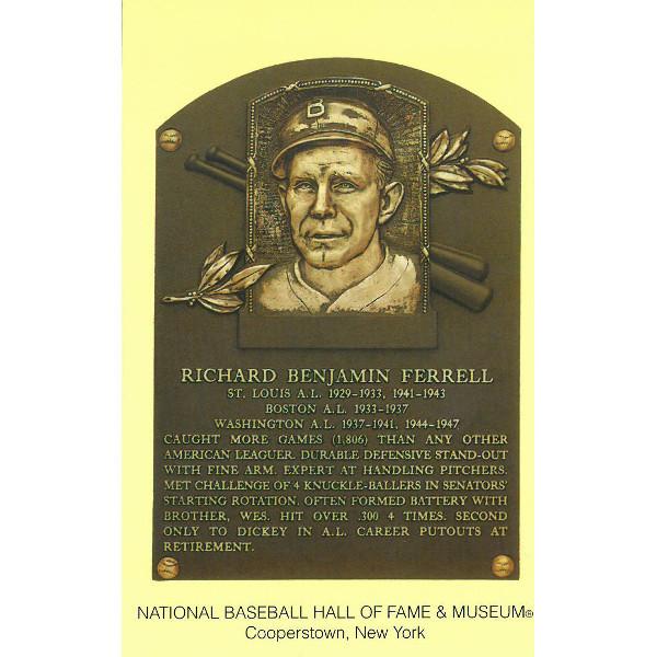 Rick Ferrell Baseball Hall of Fame Plaque Postcard