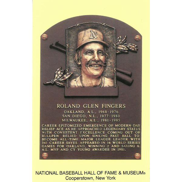 Rollie Fingers Baseball Hall of Fame Plaque Postcard