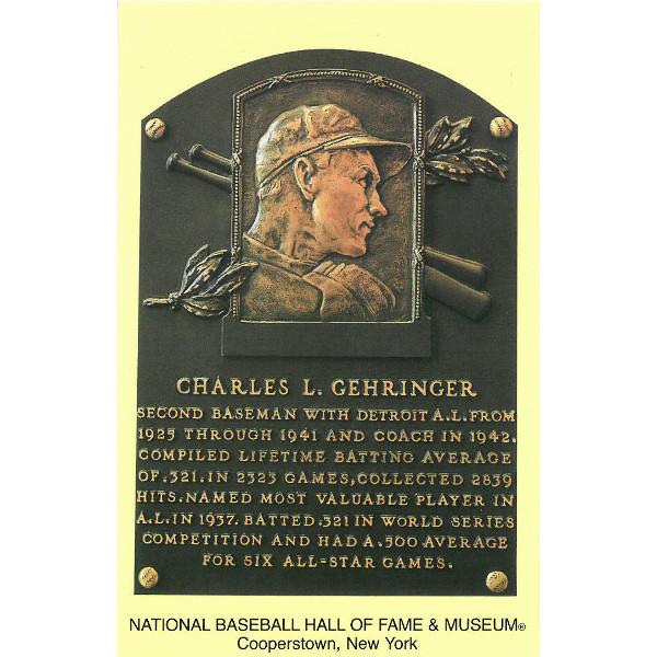 Charlie Gehringer Baseball Hall of Fame Plaque Postcard