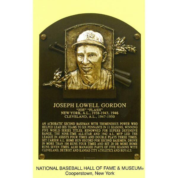 Joe Gordon Baseball Hall of Fame Plaque Postcard