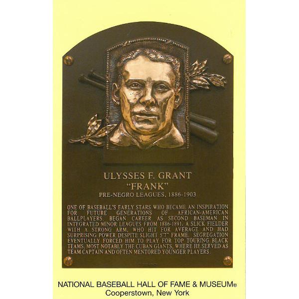Frank Grant Baseball Hall of Fame Plaque Postcard