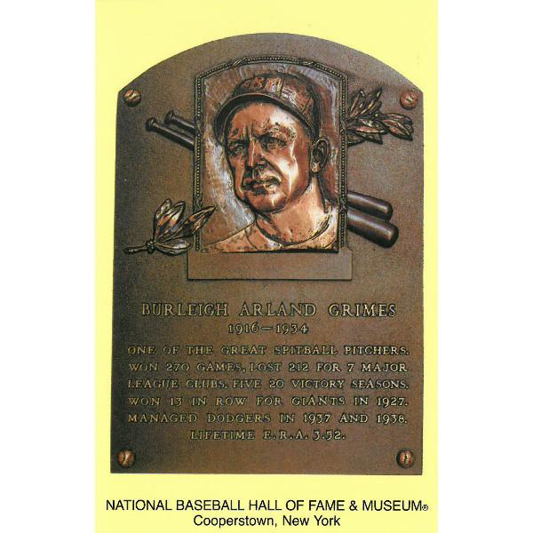 Burleigh Grimes Baseball Hall of Fame Plaque Postcard