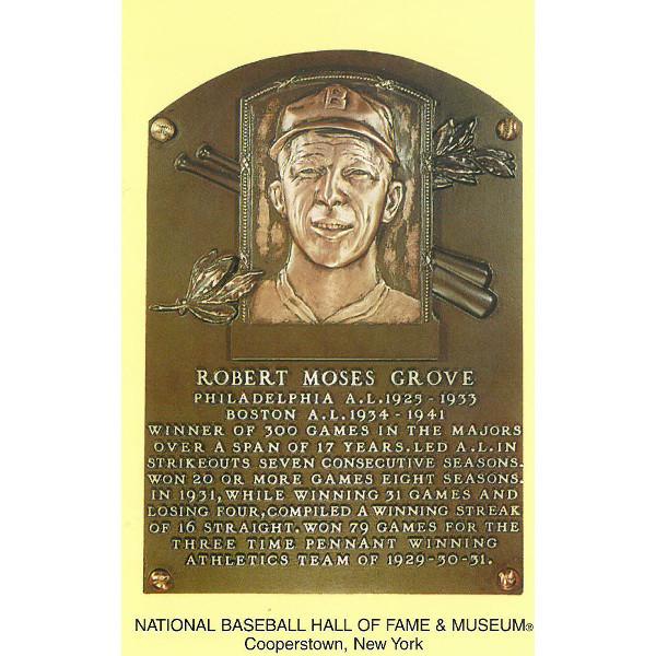 Lefty Grove Baseball Hall of Fame Plaque Postcard