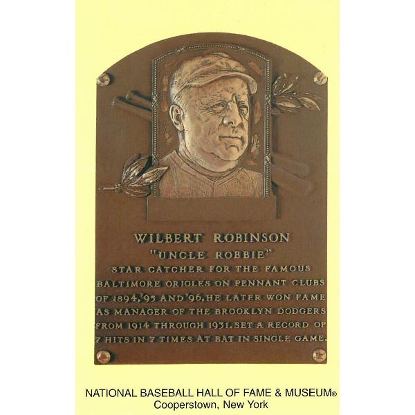 Wilbert Robinson Baseball Hall of Fame Plaque Postcard