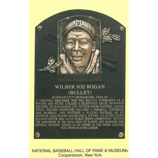 Bullet Joe Rogan Baseball Hall of Fame Plaque Postcard