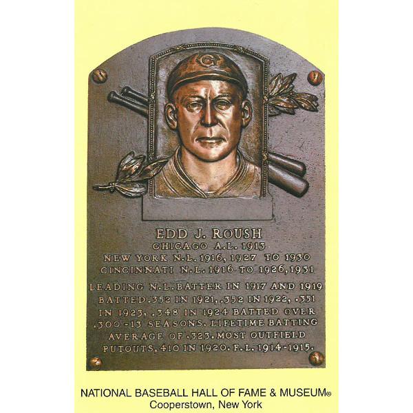 Edd Roush Baseball Hall of Fame Plaque Postcard