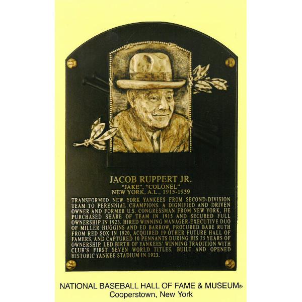 Jacob Ruppert Baseball Hall of Fame Plaque Postcard