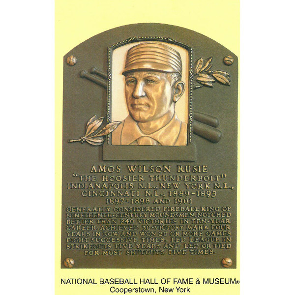 Amos Rusie Baseball Hall of Fame Plaque Postcard