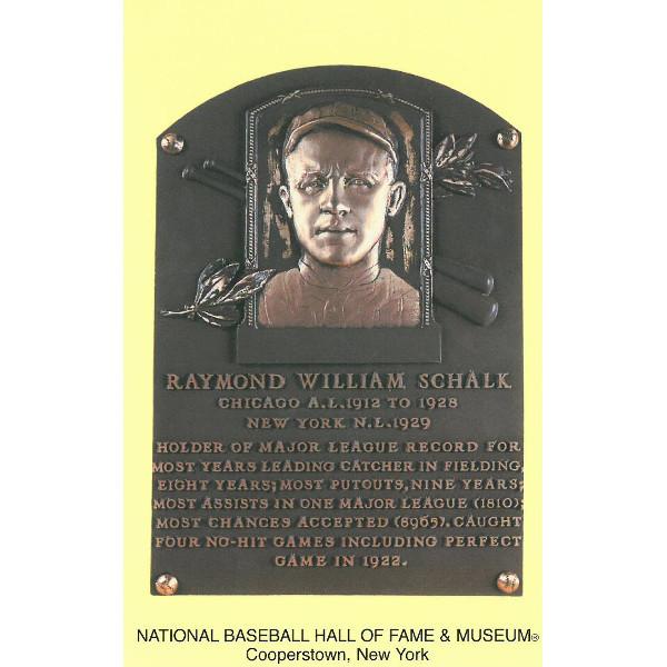 Ray Schalk Baseball Hall of Fame Plaque Postcard