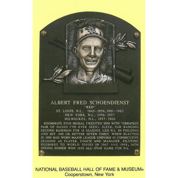 Red Schoendienst Baseball Hall of Fame Plaque Postcard