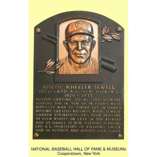 Joe Sewell Baseball Hall of Fame Plaque Postcard