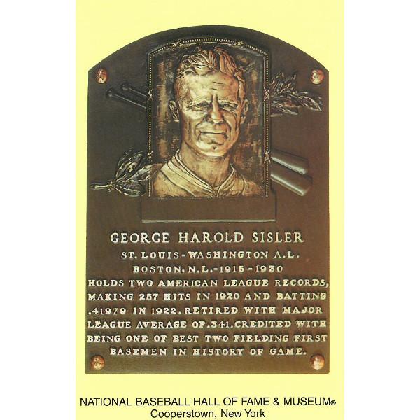 George Sisler Baseball Hall of Fame Plaque Postcard