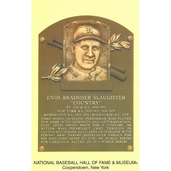 Enos Slaughter Baseball Hall of Fame Plaque Postcard