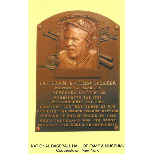 Tris Speaker Baseball Hall of Fame Plaque Postcard