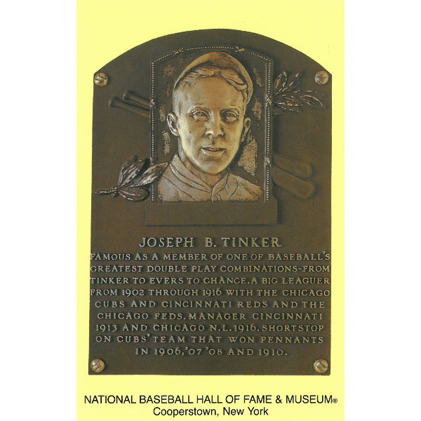 Joe Tinker Baseball Hall of Fame Plaque Postcard