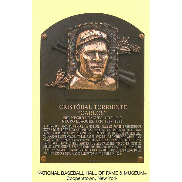 Cristobal Torriente Baseball Hall of Fame Plaque Postcard