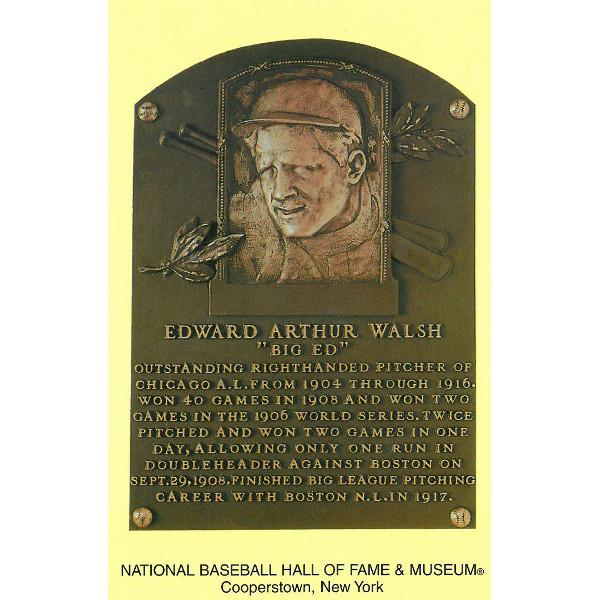 Ed Walsh Baseball Hall of Fame Plaque Postcard
