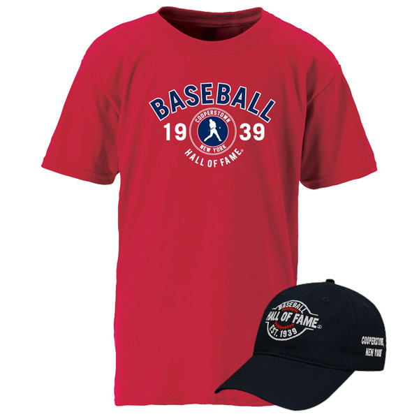 Youth Baseball Hall of Fame Navy Cap & Red T-Shirt Bundle