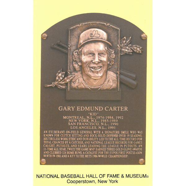 Gary Carter Baseball Hall of Fame Plaque Postcard