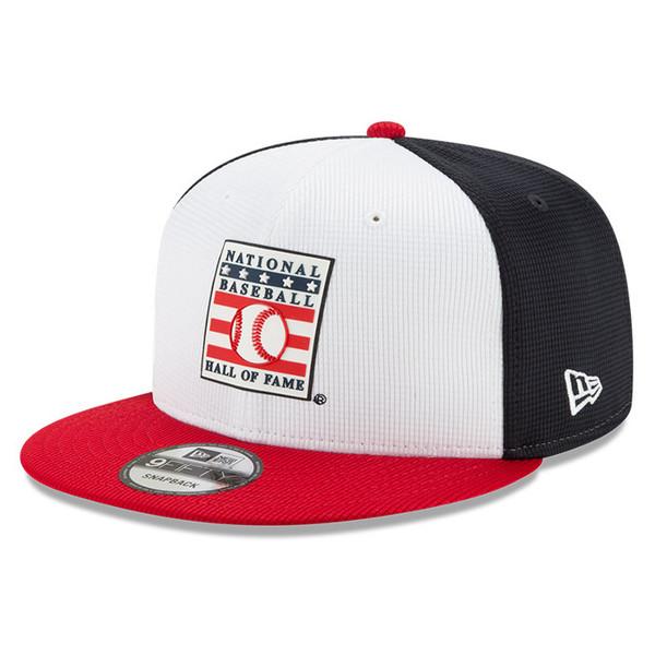 Men's New Era Baseball Hall of Fame Logo Red, White and Navy Blue 9FIFTY Flat Brim Snapback Cap