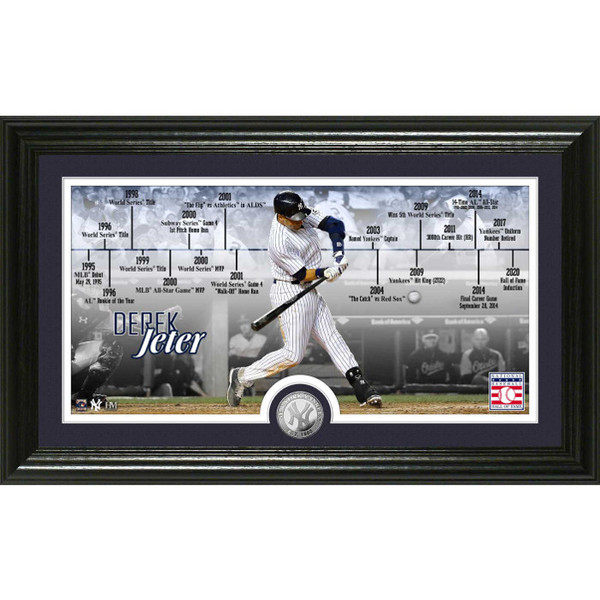 Highland Mint Derek Jeter Hall of Fame Class of 2020 Career Timeline 12 x 20 Silver Coin Photo Mint