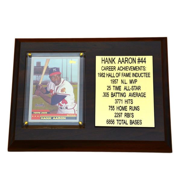 "Hank Aaron Atlanta Braves 8"" x 6"" Baseball Card Deluxe Plaque"