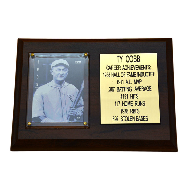"""Ty Cobb Detroit Tigers 8"""" x 6"""" Baseball Card Deluxe Plaque"""