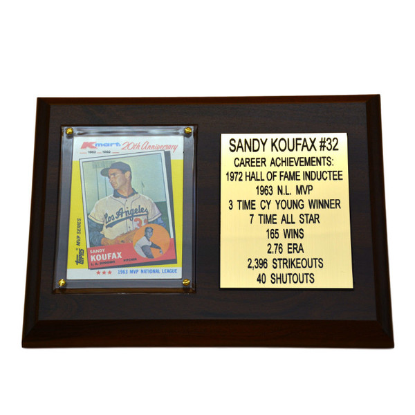 "Sandy Koufax Los Angeles Dodgers  8"" x 6"" Baseball Card Deluxe Plaque"