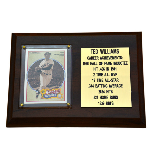 """Ted Williams Boston Red Sox 8"""" x 6"""" Baseball Card Deluxe Plaque"""