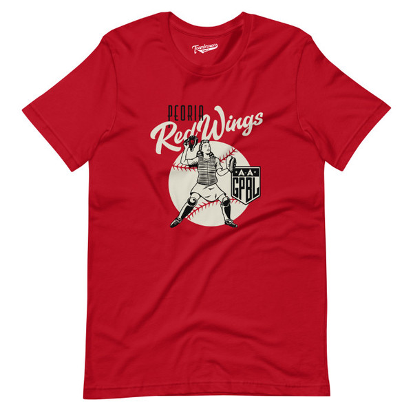 Unisex Teambrown Peoria Red Wings AAGPBL Baseball Shirt