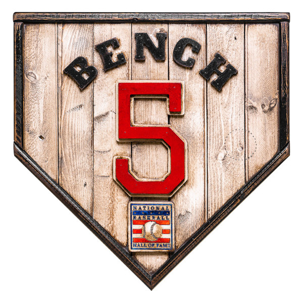 Johnny Bench Hall of Fame Vintage Distressed Wood 17 Inch Legacy Home Plate Ltd Ed of 250
