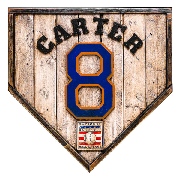 Gary Carter Hall of Fame Vintage Distressed Wood 17 Inch Legacy Home Plate Ltd Ed of 250