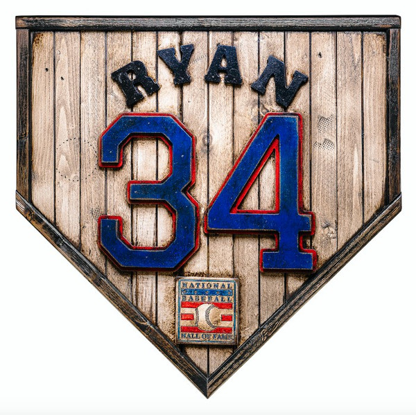 Nolan Ryan Hall of Fame Vintage Distressed Wood 17 Inch Legacy Home Plate Ltd Ed of 250