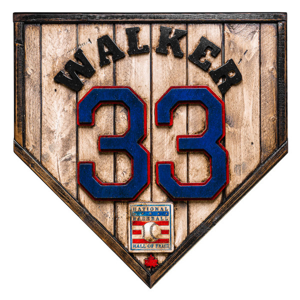 Larry Walker Hall of Fame Vintage Distressed Wood 17 inch Legacy Home Plate - Ltd Ed of 102 (Montreal)