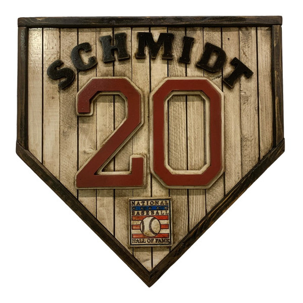 Mike Schmidt Hall of Fame Vintage Distressed Wood 17 Inch Legacy Home Plate Ltd Ed of 250