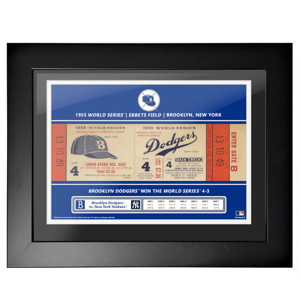 Brooklyn Dodgers 1955 World Series Framed 18 x 14 Ticket
