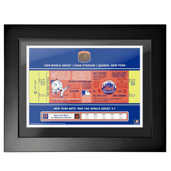 New York Mets 1969 World Series Framed 18 x 14 Ticket