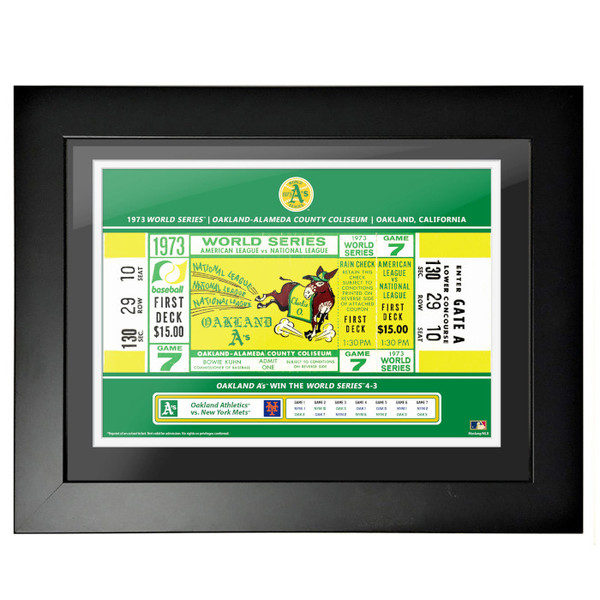 Oakland Athletics 1973 World Series Framed 18 x 14 Ticket