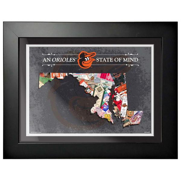 Baltimore Orioles State of Mind Framed 18 x 14 Ticket Collage Artwork