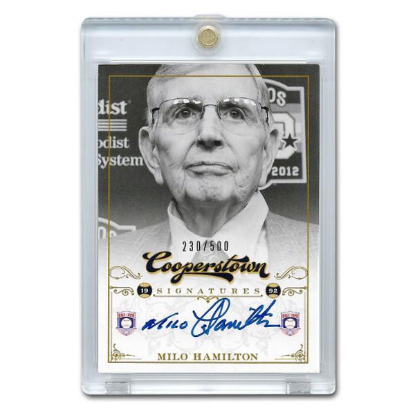 Milto Hamilton Autographed Card 2012 Panini Cooperstown Ltd Ed of 500