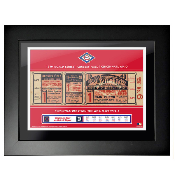 Cincinatti Reds 1940 World Series Framed 18 x 14 Ticket